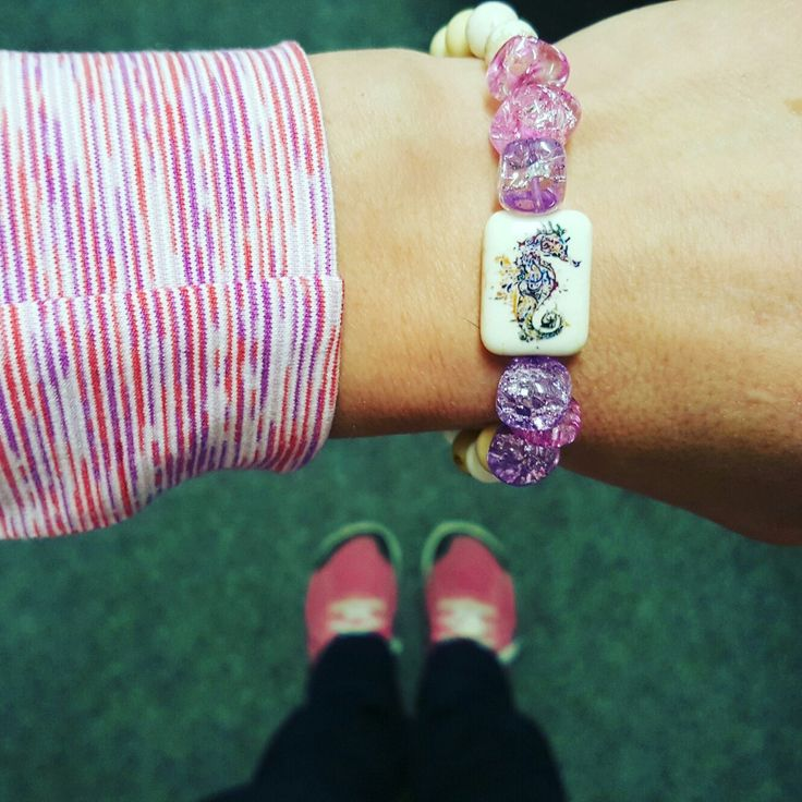 From my fingers to my toes, it's a pink and purple kind of day.  Matchy matchy.  #pink #purple #pinkandfab #purplepower #purplebling #pink #pinkhappens #bracelet #nano #crossfit #seahorse
