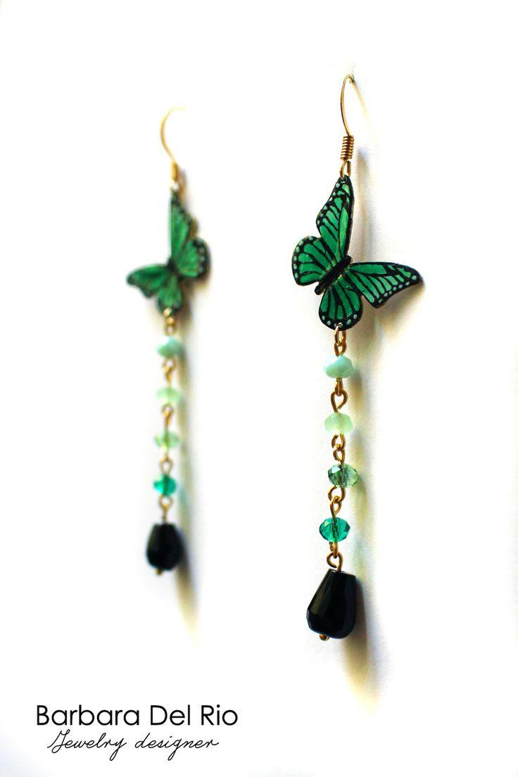 Orecchini farfalla verde : Orecchini di barbara-del-rio