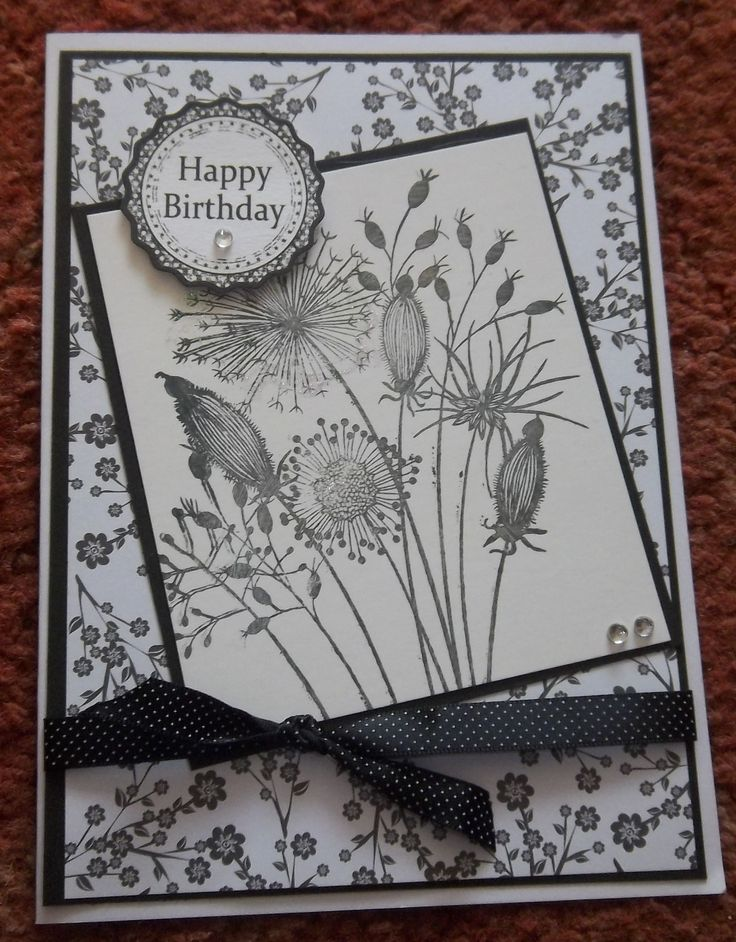 Monochrome Birthday Card - using Gone to Seed Woodware stamp