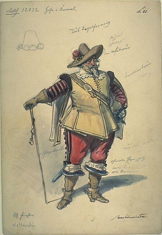 Kostümentwurf für die Figur eines Wachtmeisters aus 'Wallenstein' von Friedrich von Schiller | Franz Gaul | Bildindex der Kunst & Architektur