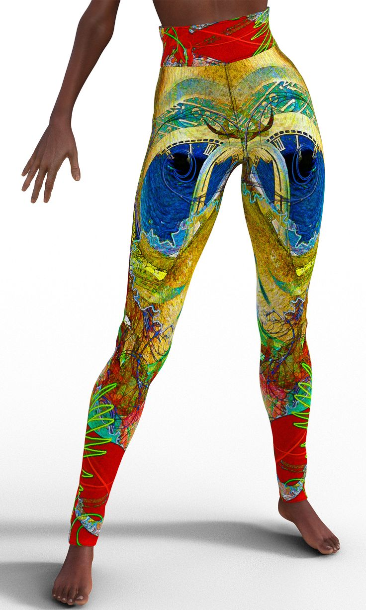 Red Poppies and Gold Leggings for Women
