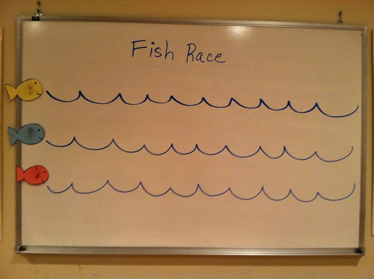 Fish Race-Teacher gives a word or phrase in English (or Spanish) and each player, when it is his/her turn, says it in Spanish (or English).  If the player is correct, then he/she gets to move the fish one wave.  First fish to reach the last wave wins.