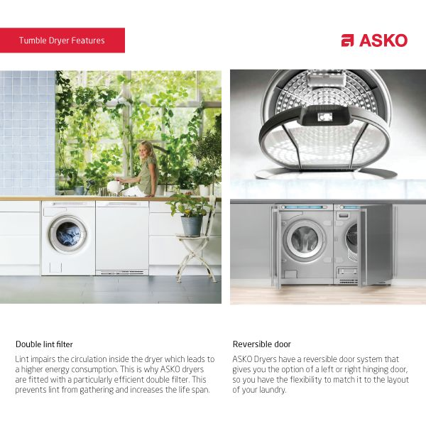 While every item looks outstanding alone, ASKO laundry appliances are also designed to complement each other. This allows you to effortlessly combine your washing machine with a tumble dryer, drying cabinet, and other ASKO laundry products.