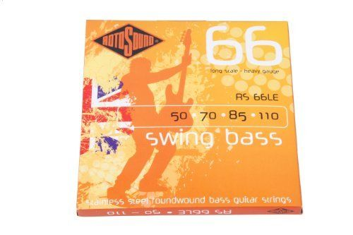 Rotosound RS66LE Swing Bass 66 Stainless Steel Bass Guitar Strings (50 70 85 110) by Rotosound. $19.85. The most popular Roundwound bass string ever. Rotosound was the first string company to produce this kind of string. Introduced in 1962 it changed the sound of the instrument instantly. The favourite string of many players including Billy Sheehan, John Paul Jones and Geddy Lee. Available in all popular gauges and scale lengths. The steel used to produce these strings is unique...