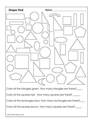 1st Grade Geometry Worksheets- possible assessment tool after shape lesson.  First grade @ van horn