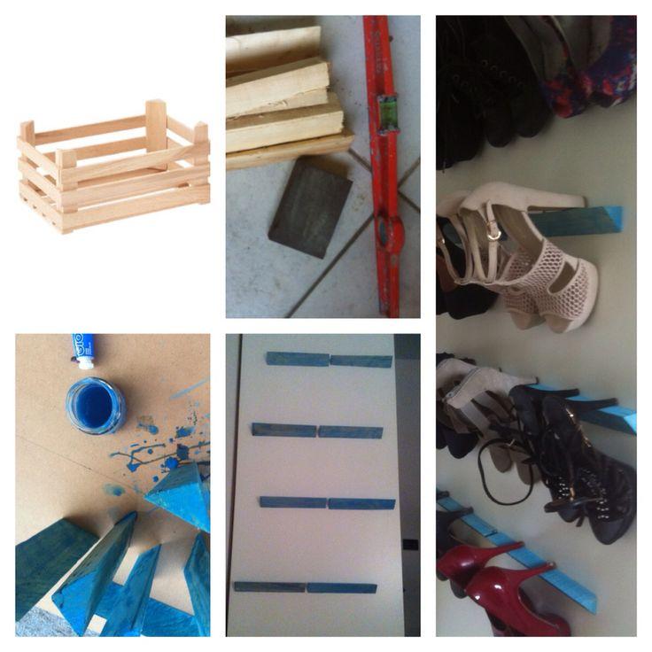 Diy storage shoes - scarpiera fai da te: cassette della frutta, cartavetro, bolla, colori acrilici, mille chiodi ed un pizzico di fantasia!