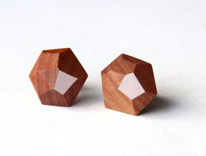 These earrings are modern, light and beautifully made.   - Made from either Kauri or Totara depending on availability.  - Studs are surgical grade stainless steel. - Finished with a natural beeswax polish.  - Size: 1.3cm x 1.3cm (approx) - Colours: blush, mint, dark blue, turquoise, gold, off ...