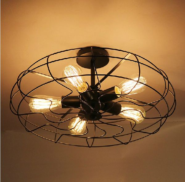 Lustre vintage industry american country fan edison ceiling plate lamp balcony kitchen dinning room modern home