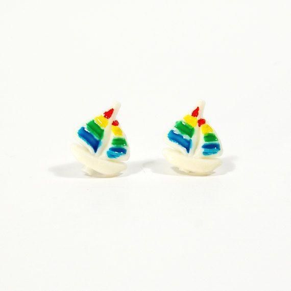 Vintage Earrings 80s Small Sailboat Stud by Flourisheshome on Etsy #vintage #vintageearrings #earrings #kawaii #1980s #sailboats #nauticaljewelry #gotvintage #summer #summerearrings #summerjewelry