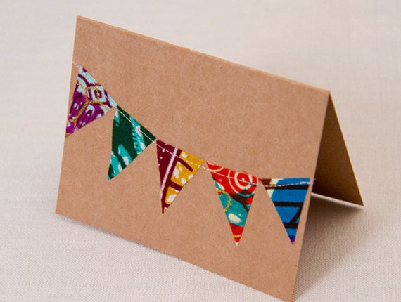 African Fabric Card // Sewn Fabric Bunting Card by lanyapstudios, $37.50