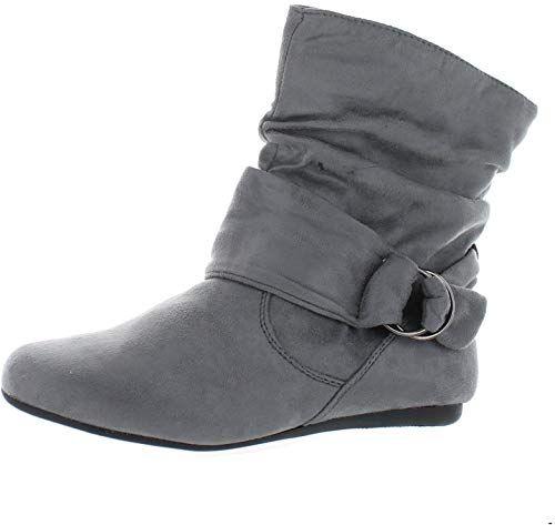 7bd2497cbca91 Amazon.com   Women's Fashion Calf Flat Heel Side Zipper Slouch Ankle ...