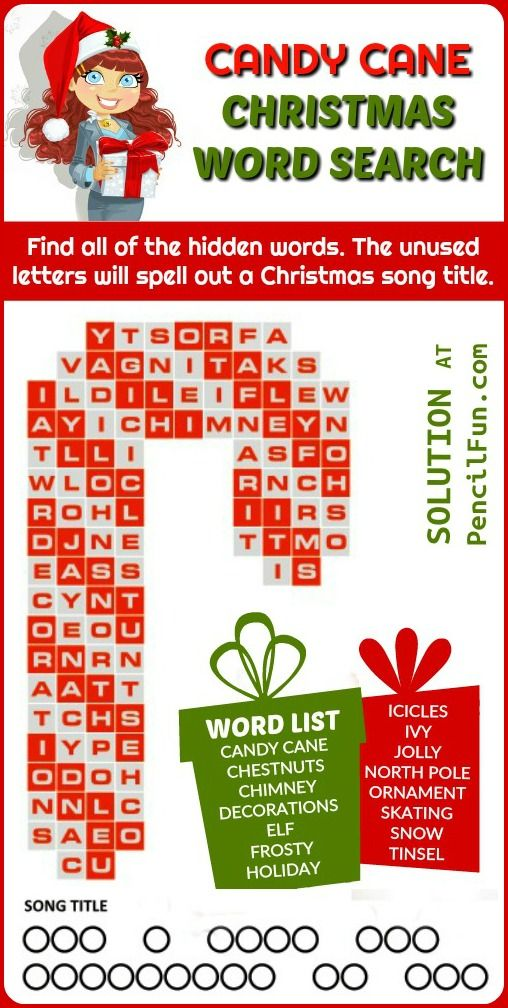 Free printable Christmas word search puzzle shaped like a candy cane. Solve the puzzle to find the title of a Christmas song. #printable #christmas #wordsearch