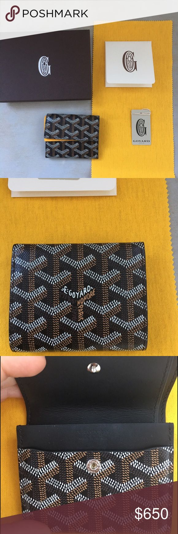Goyard coin wallet purse Goyard small coin wallet. In original goyard black print with bright yellow accent. Snap button closure pocket - good for coins and a few cards. Additional side pocket - good for folded bills or receipts. Mint condition. Comes with box, felt protection fabric square and original Goyard tags. Goyard Bags Wallets