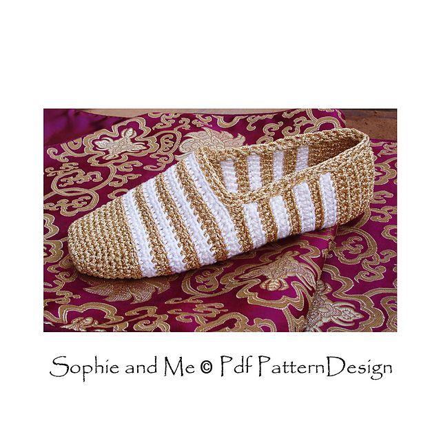 Gold and White Slippers, basic crochet pattern.
