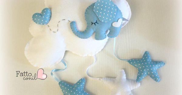 fiocco nascita nuvola con elefantino e cuore , by fattoconilcuore, 39,00 € su misshobby.com | Manualidades con fieltro | Pinterest | Cloud, Elephants and Felt
