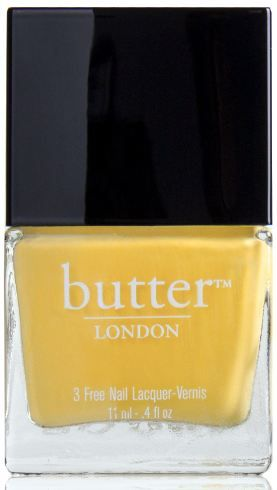 'Why, no - I do not have a banana in my pocket - but I am happy to see you.' Bright yellow nail polish – Cheeky Chops : butter LONDON