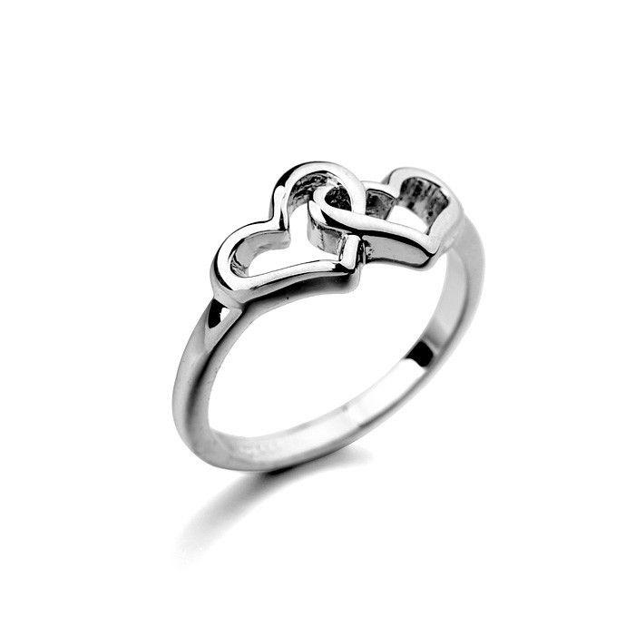 2015 мода чистого серебра ювелирные изделия двухместный форме сердца обручальное кольцо из начальная кольцо дизайн для любви