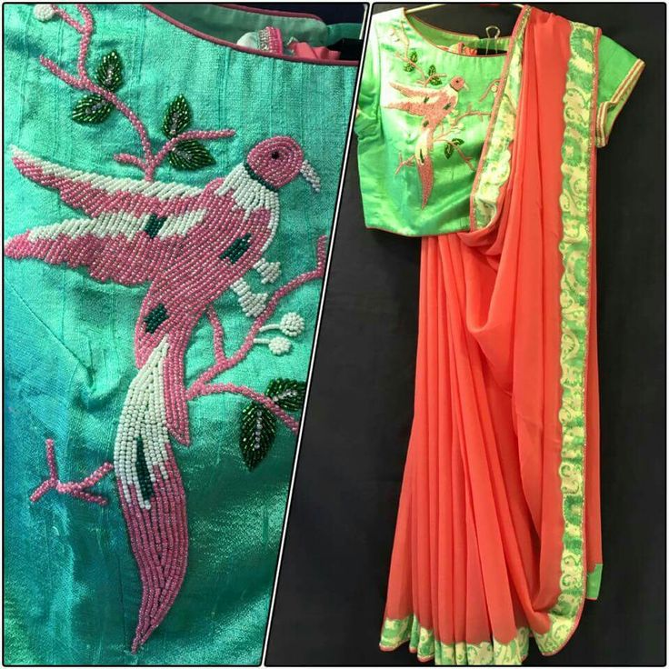 beautiful parrot embroidery on blouse