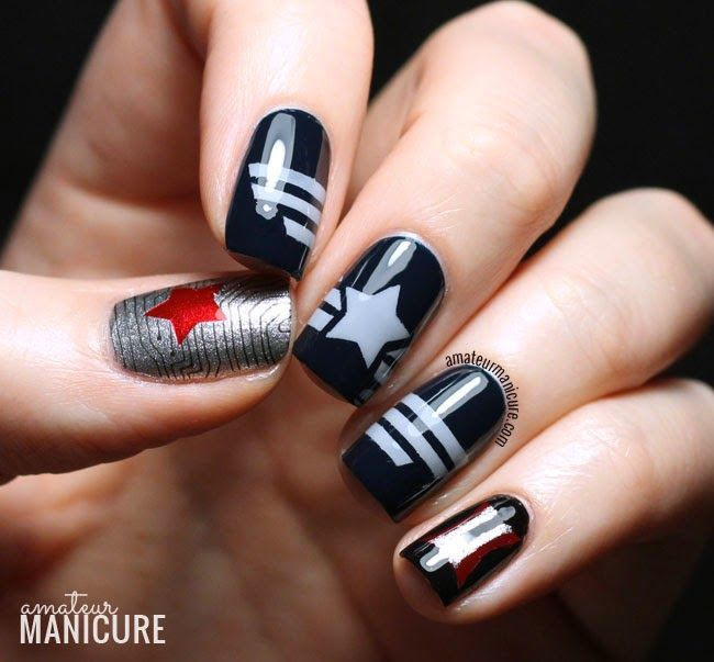Framed Nail Art Designs For Nail Salons: Captain America: The Winter Soldier Nail Art Nail Design
