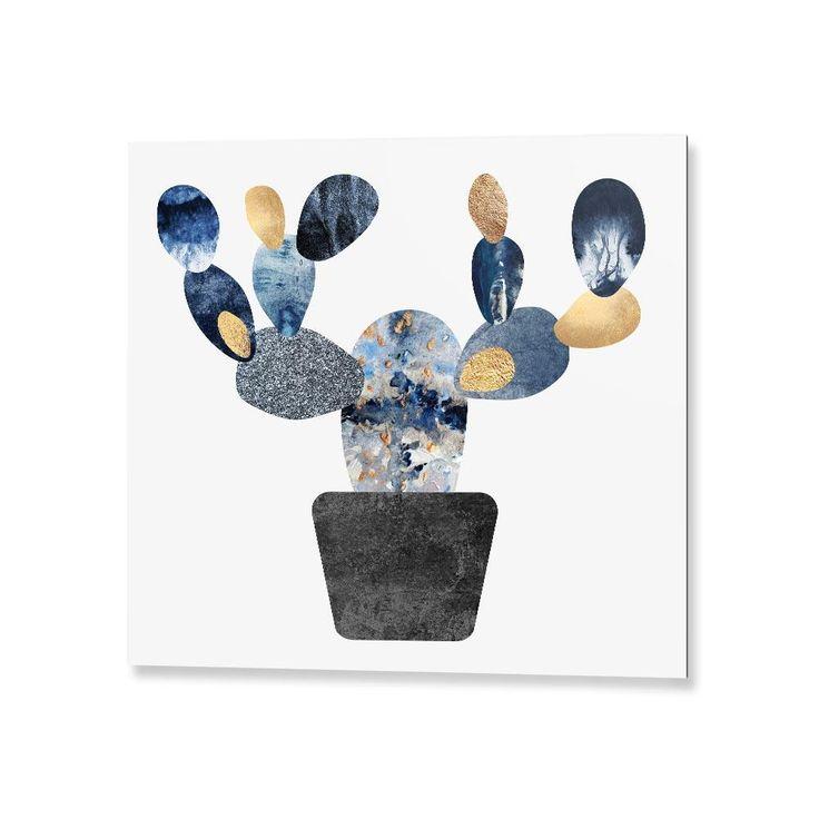"""Blue & Gold Cactus"".Tableau Design Numéroté by @efredriksso1458   - A partir de 29 € - www.chall.fr - #decorationinterieur #Artprint #inspiration #idéedeco #geometric #summer #artdigital"