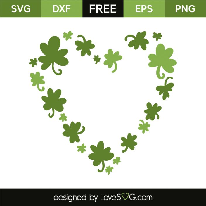 *** FREE SVG CUT FILE for Cricut, Silhouette and more *** Heart of clovers