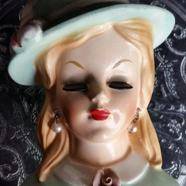 New Today 2/10/18: Vintage Ceramic Lady Head Vase, 1960, C4897A ♡