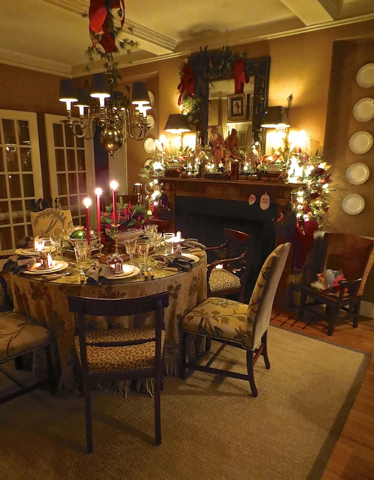 Dining Room With Table Set For Christmas Eve Holiday DecorationsChristmas