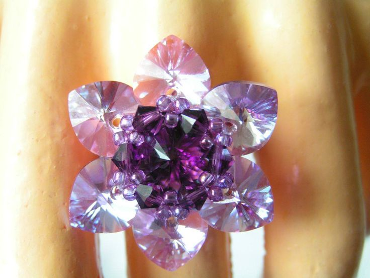 Lotus - Amethyst  -    Elegant lotus flower form swarovski ring. The lotus flower diameter is 33 mm.