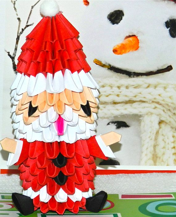 Origami Santa Ornament: 52 Best Images About 3d Origami On Pinterest