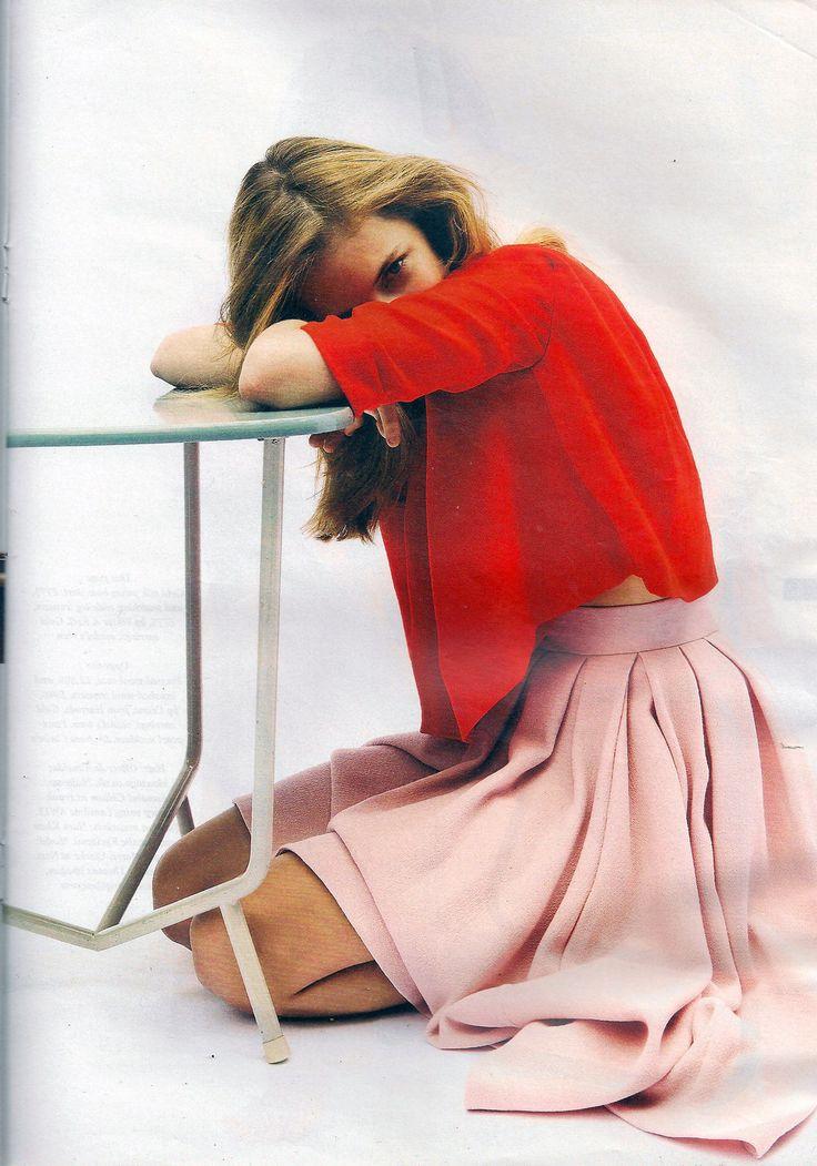 red wool crepe top + pink wool crepe skirt by Emilia Wickstead