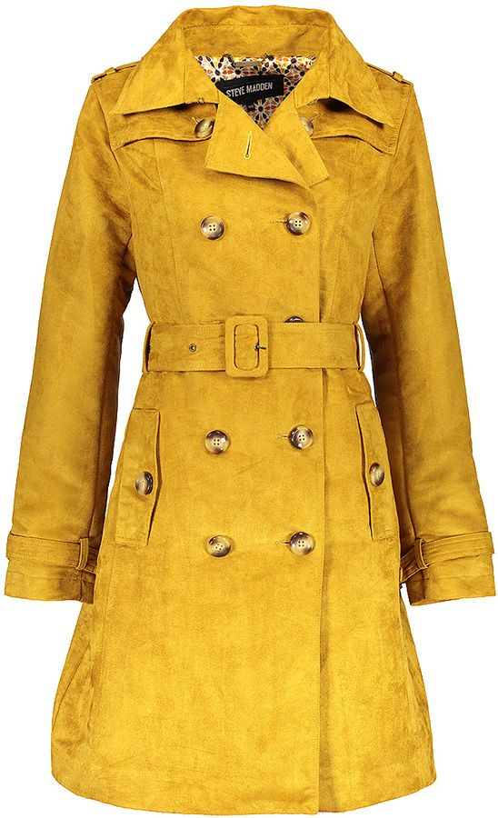 Gold Faux-Suede Double-Breasted Trench Coat