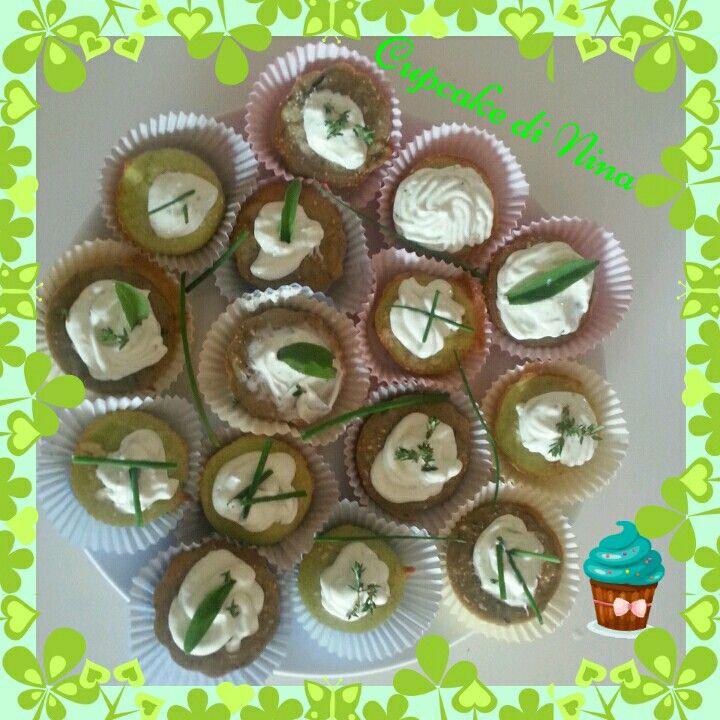 Cupcake salati zucchine melanzane e crema fresca con spezie dell'orto