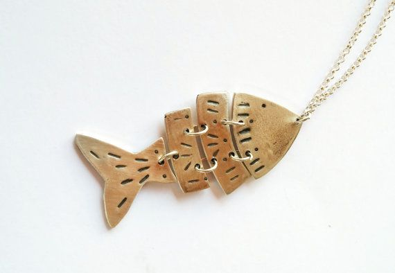 Big Fish necklace sterling silver handmade long by LillyOJewellery