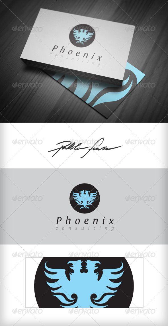 Phoenix Two headed bird is Phoenix logo utiliso for prestige business logo, clothing, fashion, wine label, sommelier, hotels, spo