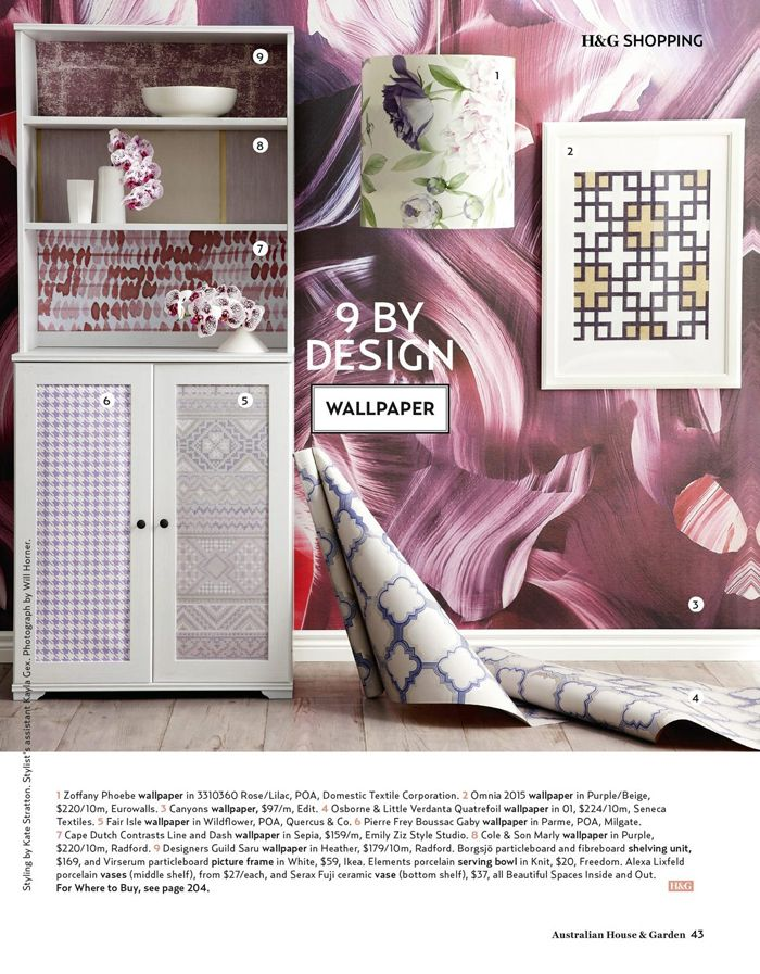 EDIT's 'Canyons' wallpaper is featured in the latest issue of Australian House & Garden.