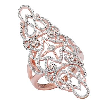 Sterling Silver 14K Rose Gold Vermeil Diamond Ring