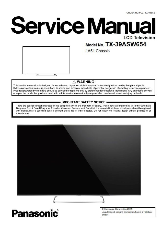 Panasonic Tx 39asw654 Led Tv Service Manual Schematics Led Tv Tv Services Panasonic