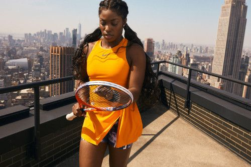 Sloane Stephens Shows Orange Nike Dress Ready For Us Open Title Defense Women S Tennis Blog Nike Dresses Sloane Stephens Womens Tennis