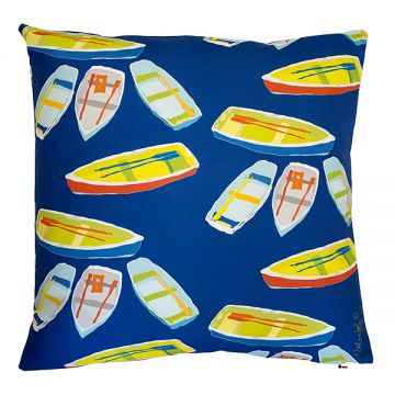Painterly rowboats in a new pattern. 18x18 pillow with or without down-feather insert. Order now: http://troskodesign.com/shop/throw-pillow-row-boats-in-blue-made-in-usa/
