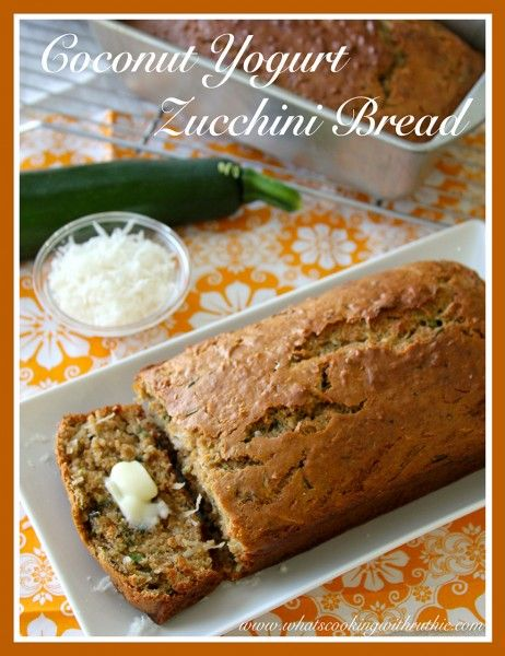 Coconut Yogurt Zucchini Bread is a skinny loaf that has amazing flavor! by whatscookingwithruthie.com #recipes #zucchini #bread
