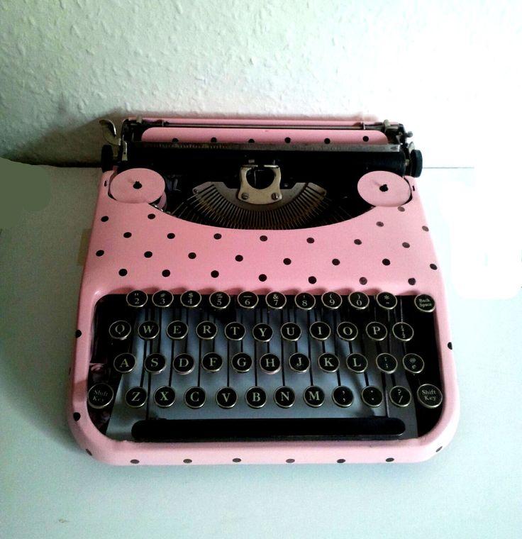 Pink and Black Vintage Polka dot Typewriter    #vintage #typewriter