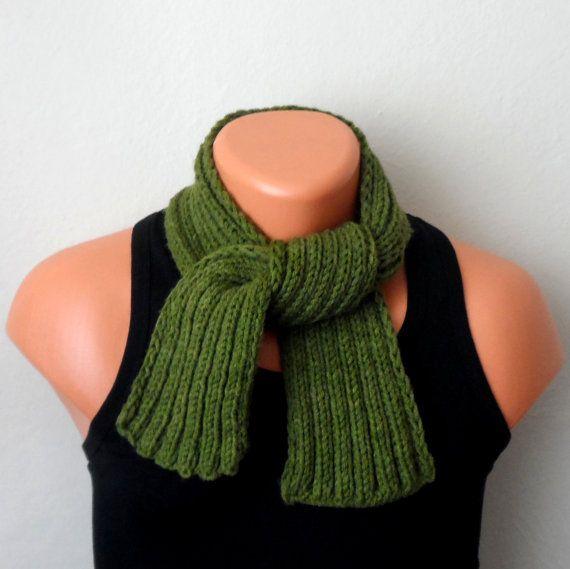 green men knit scarf green winter scarf chunky men scarf