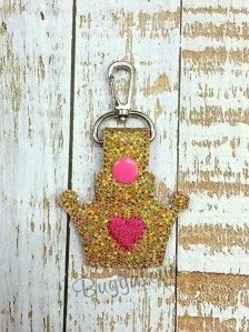 Crown Snap Tab Key Fob Embroidery Design