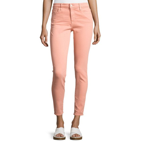 Sanctuary Robbie Skinny Jeans ($80) ❤ liked on Polyvore featuring jeans, peach, zipper skinny jeans, peach skinny jeans, skinny jeans, peach jeans and skinny fit jeans