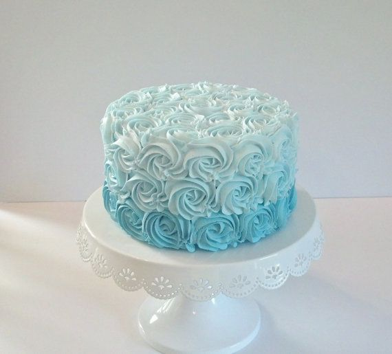 Tiffany Blue Ombre Rosette Fake Cake Photo Prop, Home Accents, Shop Displays, Birthday Party Decorations, Smash Cake Picture Props