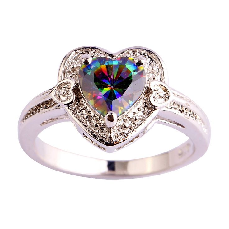 HEART OF LOVE - RAINBOW TOPAZ, GEMSTONE, SILVER RING