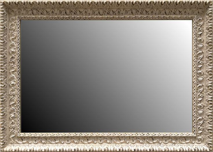 espejo biselado estilo clsico con marco en madera color marfil modelo