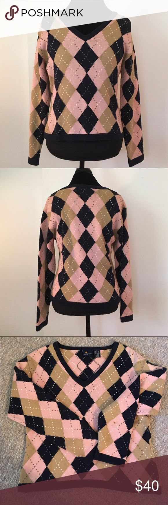 Liz Sport Vintage Argyle Sweater 100% Cotton Argyle Sweater. I think I just wore it one time. Please see the one close up photo where there is a small stain on the sleeve. Runs small, so please also see photos with tape measure 💕 Liz Claiborne Sweaters V-Necks