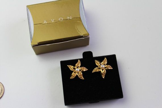 Avon Gold tone  Faux Pearl  Starfish Pierced Earrings by Jewelrin  #VintageAvonEarrings