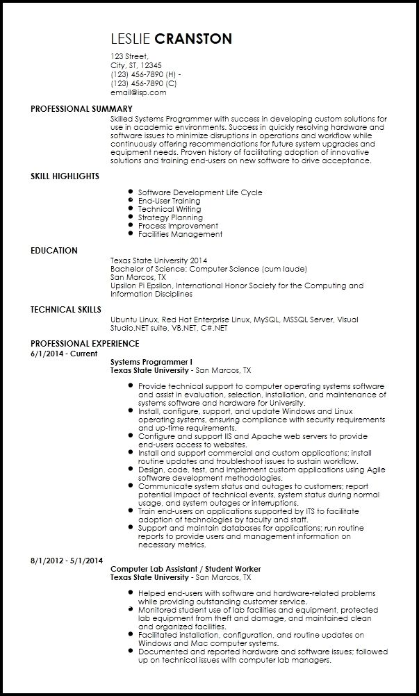 Free Entry Level Programmer Resume Templates Resume Now